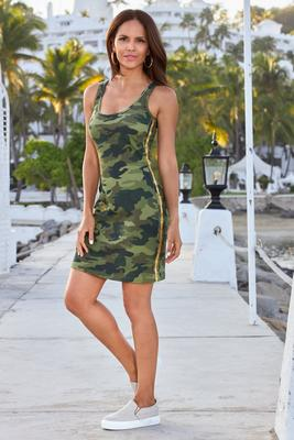 Camo Print Racer Stripe Dress