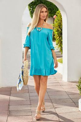 Smocked Off-The-Shoulder Flowy Dress