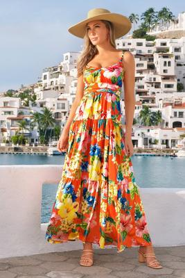 Tropical Capri Tiered Maxi Dress