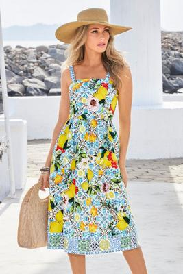 Display product reviews for Lemon Tiles Fit-And-Flare Dress