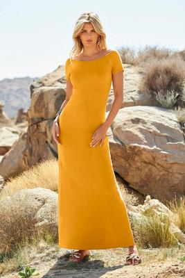 Off-The-Shoulder Short-Sleeve Maxi Dress