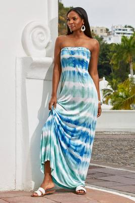 Display product reviews for Tie-Dye Embroidered Knit Maxi Dress