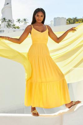 Tiered Solid Maxi Dress