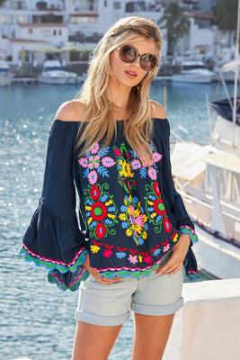 Floral Embroidered Off-The-Shoulder Flare-Sleeve Top