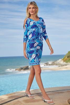Display product reviews for Rainforest Leaves Cold-Shoulder Blouson Dress