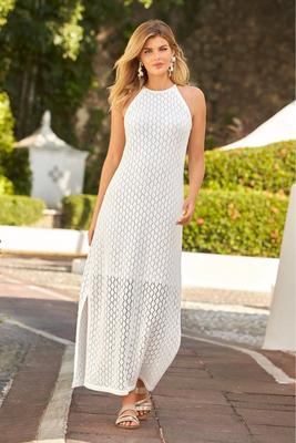 Knit High-Neck Maxi Dress