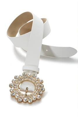 Pearl And Gem Round Buckle Belt