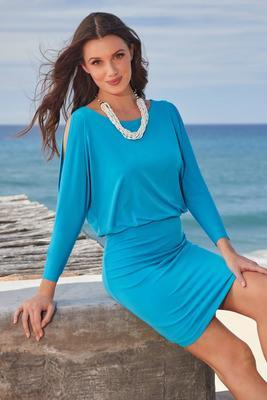 Solid Cold-Shoulder Blouson Dress