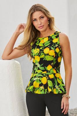 Lemon Print Scuba Peplum Top