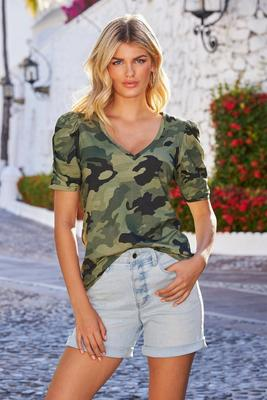 Camo Print Ruched-Sleeve V-Neck Tee