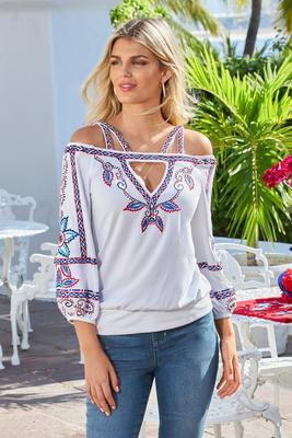 Display product reviews for Cold-Shoulder Embroidered Cutout Three-Quarter-Sleeve Top
