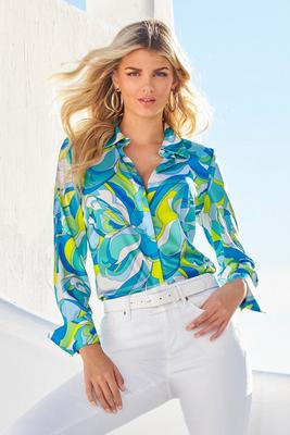 Capri Waters Button-Up Charm Blouse