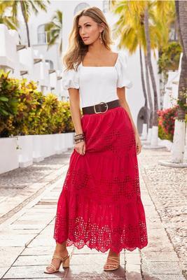 Eyelet Pull-On Maxi Skirt