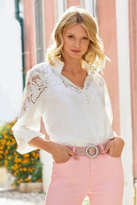 Eyelet Covered-Button Tunic Top
