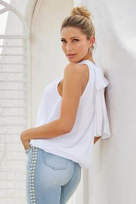 Mock-Neck Sleeveless Blouson Top