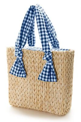 Gingham Straw Bag
