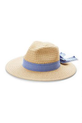 Gingham Straw Hat