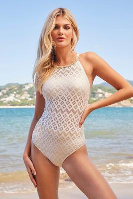 Metallic Crochet High-Neck One-Piece Swimsuit