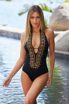 Gold-Beaded Detail Plunge One-Piece Swimsuit