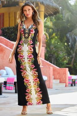 Embellished Color Block Tropical Maxi Dress