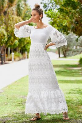 Smocked Off-The-Shoulder Lace Maxi Dress