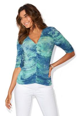Tie-Dye Ruched Covered-Button Elbow-Sleeve Top