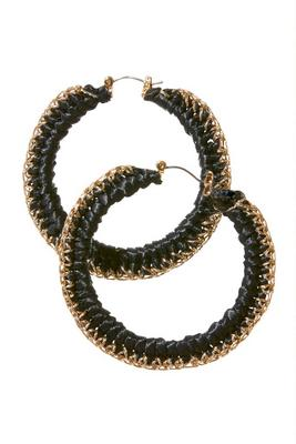 Black And Gold Woven Hoop Earring