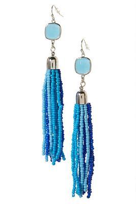 Blue Beaded Fringe Earring