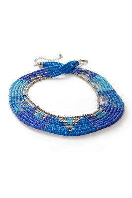 Layered Beaded Blue Necklace