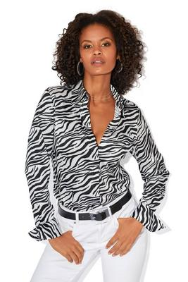 Zebra Print Button-Up Charmeuse Blouse