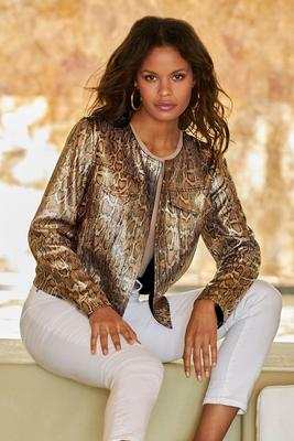 Display product reviews for Metallic Sequin Snake Print Jacket