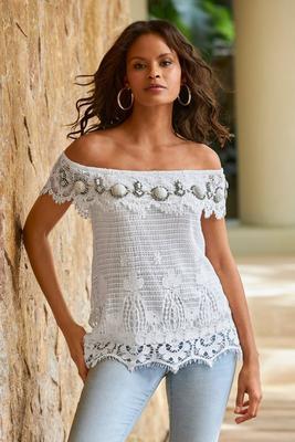 Embellished Lace Off-The-Shoulder Top