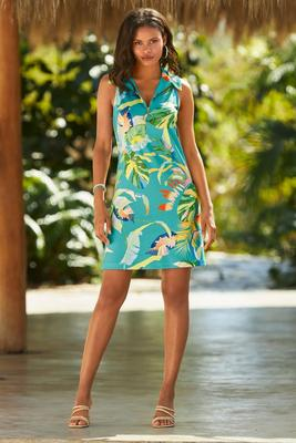 Display product reviews for Floral Print Sleeveless Collared Zip Dress