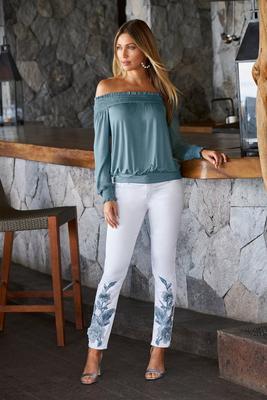 Floral Embellished Ankle Jean