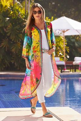Bright Printed Embellished Duster