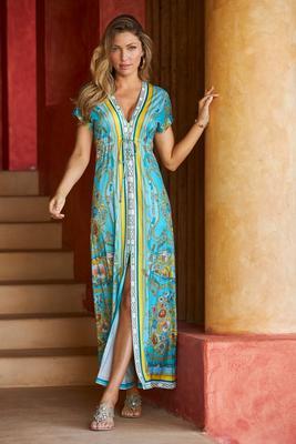 Border Print Slit Maxi Dress
