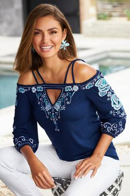 Strappy Embroidered Blouson Top