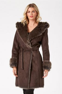 Suede Faux-Fur Wrap Coat