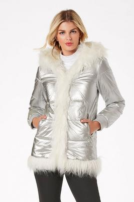 Hooded Metallic Faux-Fur Puffer Coat