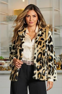 Leopard Print Faux-Fur Coat