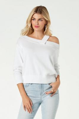 Off-The-Shoulder One-Strap Sweater