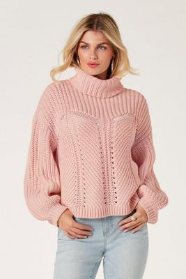 Display product reviews for Shaker Stitch Detail Turtleneck Sweater