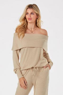 Ribbed Hacci Cozy Slouchy Off-The-Shoulder Top