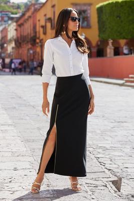 Beyond Travel Side-Zip Maxi Skirt