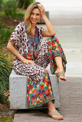 Tropical Animal Print Blouson Jumpsuit