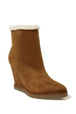 Faux Shearling Lined Wedge Bootie