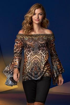 Animal Print Embellished Off-The-Shoulder Flare-Sleeve Top