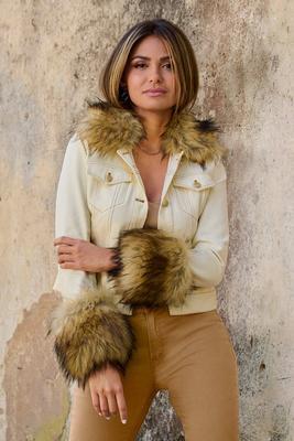 Removable Faux-Fur Trim Denim Jacket