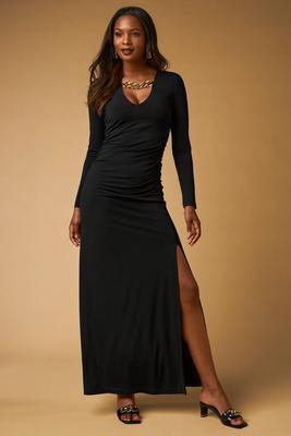Chain Neckline Ruched Maxi Dress