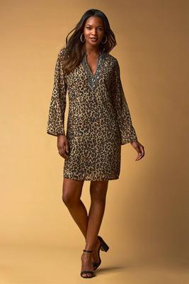 Jewel-Embellished Animal Print Tunic Dress